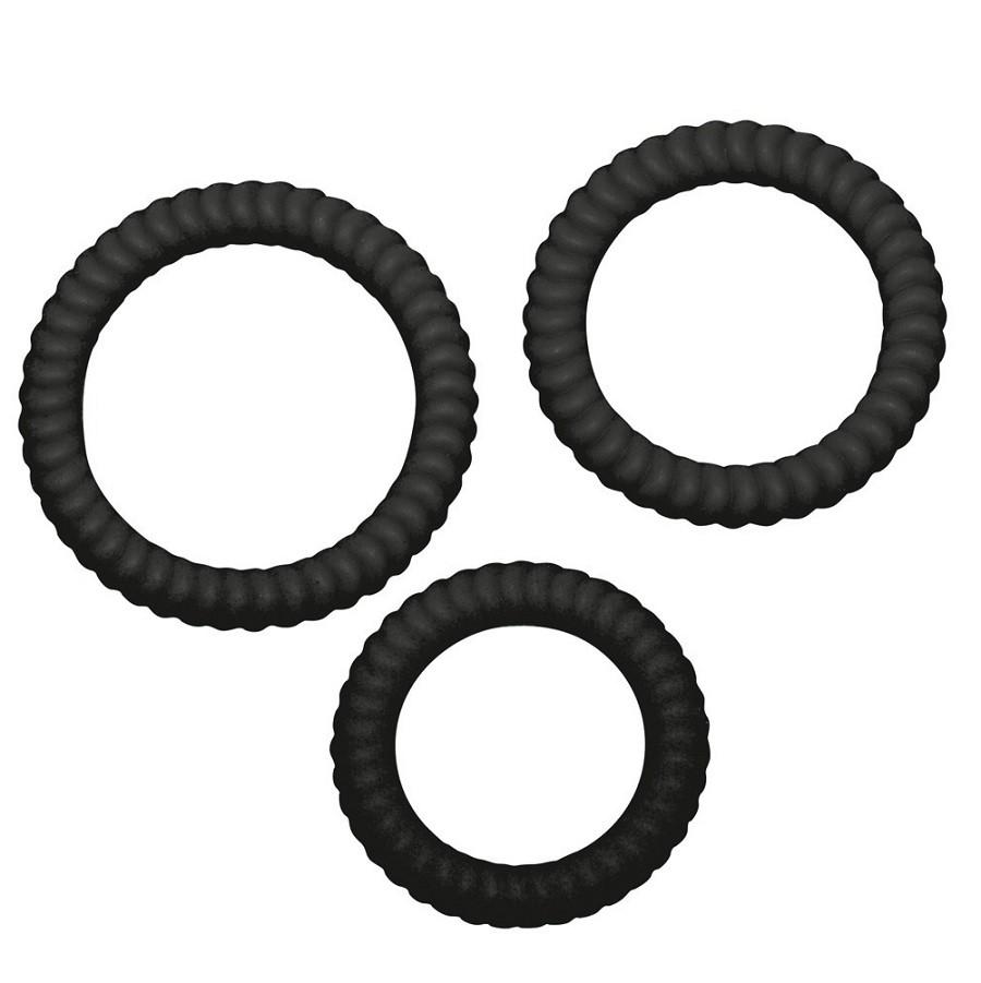Набор силиконовых колец «Lust³ Black» (Фото 2)