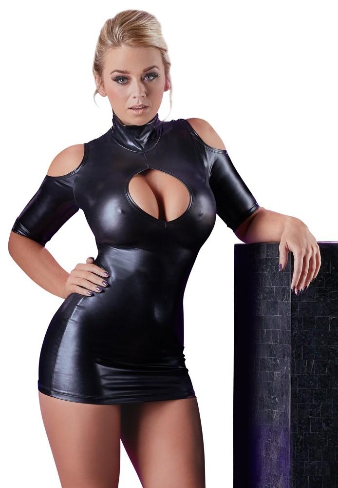 Мини-платье wetlook с вырезом «Cottelli Collection Party»