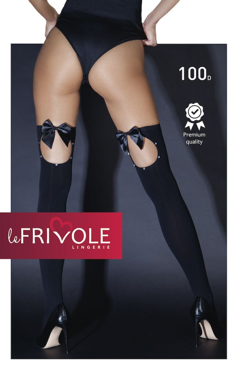 Чулочки плотные с бантиками и стразами «Le Frivol» (Фото 1)