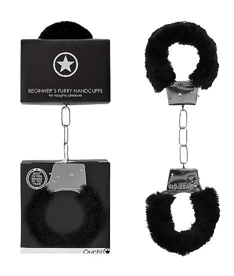 Металлические наручники с меховой опушкой «Beginner's Handcuffs Furry»