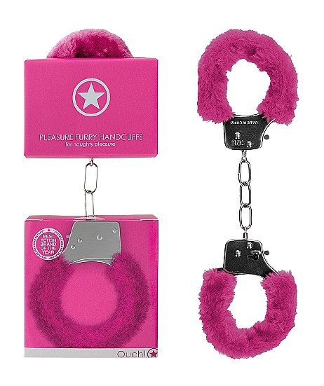 Металлические наручники с меховой опушкой «Pleasure Handcuffs Furry»