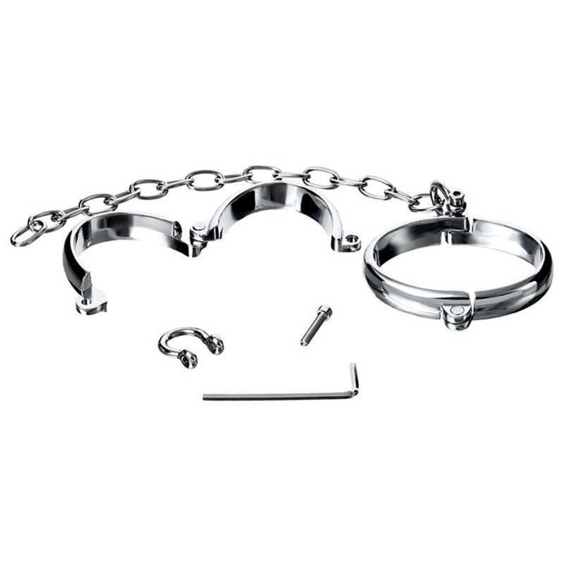 Металлические наручники с цепочкой «TOYFA Metal» (Фото 1)