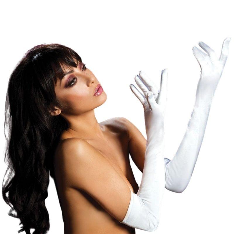 Атласные длинные перчатки «WHITE»