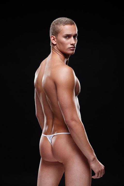 Стринги мужские белая полоска «ENVY» арт.E021 (Фото 1)