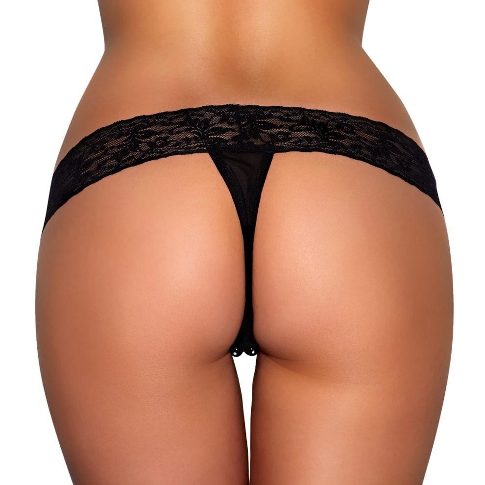 Трусики с массажными бусинами «Lace Stimulating Thong» арт.HVP05-BLK (Фото 2)