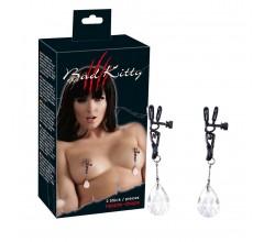 Зажимы для сосков с кристаллами «Bad Kitty Nipple Drops»