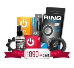 Подарочный набор «Набор колец, пролонгатор, презервативы и спрей с феромонами»