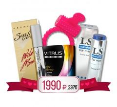 Подарочный набор «Духи с феромонами, виброкольцо, пролонгатор и презервативы»