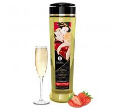 Массажное масло для тела Shunga «Шампанское и клубника»