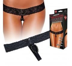 Трусики с массажными бусинами «Lace Stimulating Thong» арт.HVP05-BLK